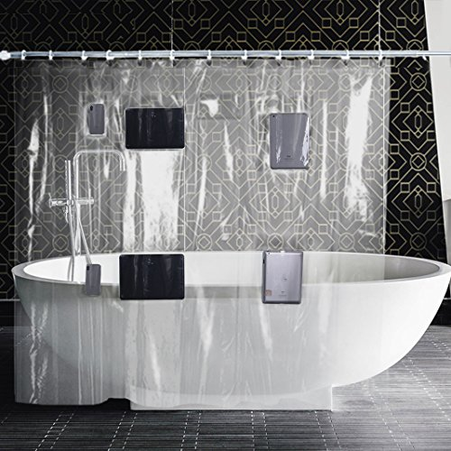 Youtube Touch Screen - Asnlove Clear Shower Curtain Liner with 8 Pockets for All Touchscreen Devices (Phones and Tablets)-Enjoy Netflix, YouTube, Music, Games, Podcasts in the Shower