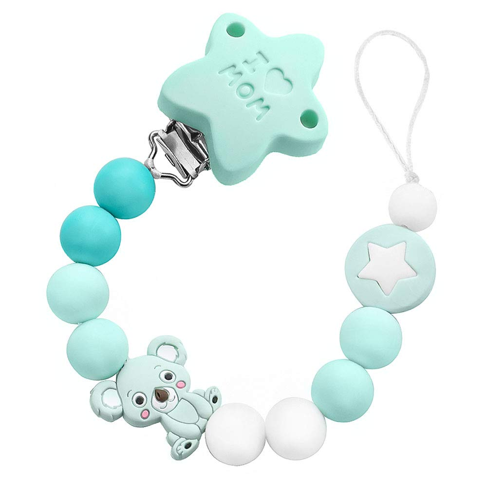Blau I LOVE MOM Silikon Bei/ßring Schnullerkette Sterne Schnuller Clips Koala Zahnen Perlen Baby Zahnen Neugeborenes