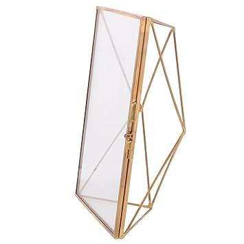 Amazon.com: Dovewill Creative Geometric Glass Clear Free Stand Photo ...