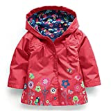 Baby Girl Coat,Fineser Children Kids Girls Long Sleeve Floral Print Hooded Coat Jacket Raincoat Outerwear Clothes 8 Color (red, 3Year(110))