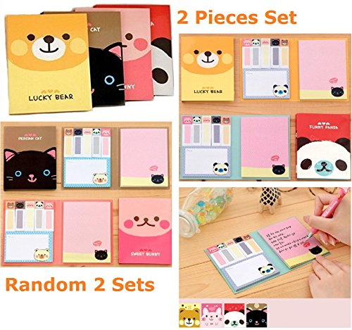 ONOR-Tech 2 x Lovely Cute Rabbit Cartoon 6 Fold N Times Note Bookmarker Sticky Notes Memo Note for Women, Girl as a Gift
