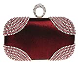 Kaxidy Ladies Girls Shimmering Diamante Encrusted Evening Bag Clutch Purse Party Bridal Prom Wedding Evening Bags (Wine-red)