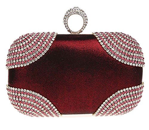 Kaxidy Ladies Girls Shimmering Diamante Encrusted Evening Bag Clutch Purse Party Bridal Prom Wedding Evening Bags (Wine-red) by KAXIDY