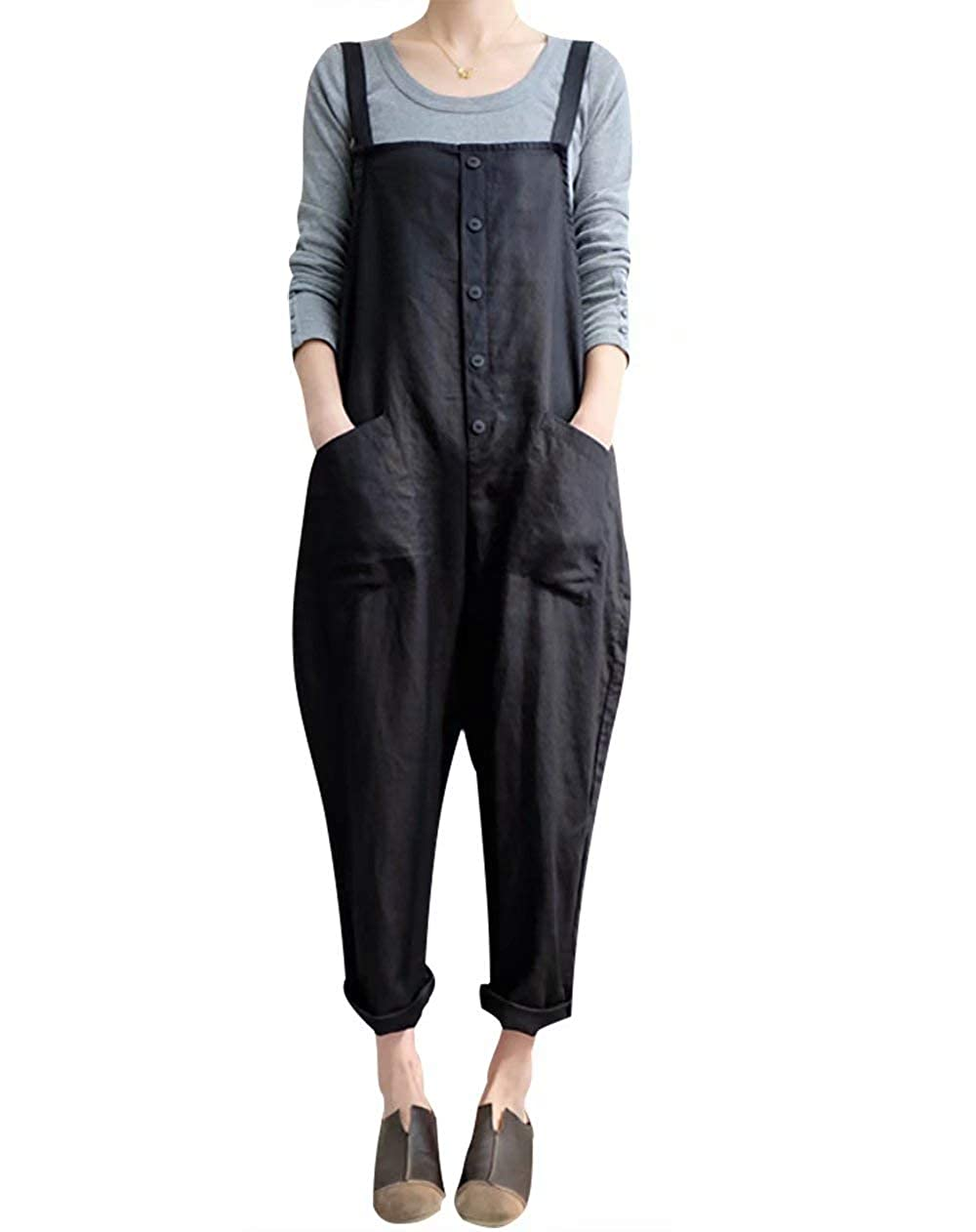 MYHALF Womens Overalls Casual Harem Pants Wide Leg Low Crotch Loose Trousers
