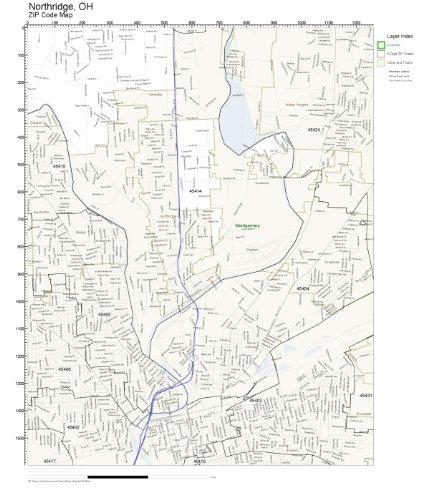 Amazon Com Zip Code Wall Map Of Northridge Oh Zip Code Map