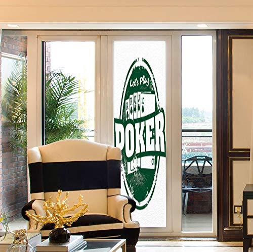 Flush Damask (YOLIYANA Decorative Window Film,Poker Tournament Decorations,for Bedroom Living Room Kitchen,Lets Play Poker Stamp Royal Flush Grunge Vintage,24''x78'')