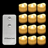 Horeset 12pcs Warm White Flickering LED with Remote Control Tea Lights Flameless Candle, Last up to 48-60hours 1.4 x 1.4-Inch for Wedding, Birthday, Home Party