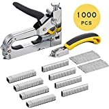 Staple Gun with Remover - 3 in 1 Heavy Duty Staple Nail Steel Gun Kit with 1000 Staples, Upholstery Stapler for Fixing Material, Decoration, Carpentry, Furniture, Doors and Windows