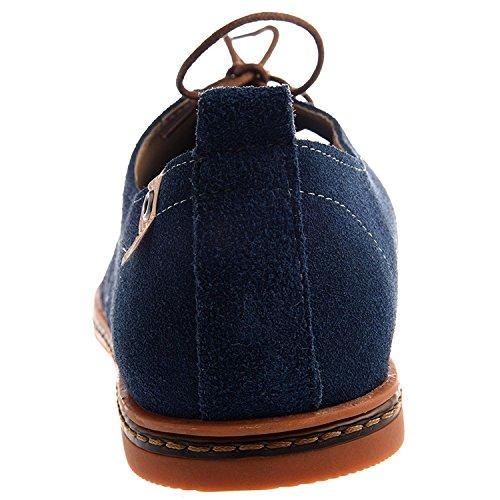 TOOGOO(R)NEU Veloursleder Europaeische Stil Leder Schuhe Herren Oxfords laessig blau 9.5