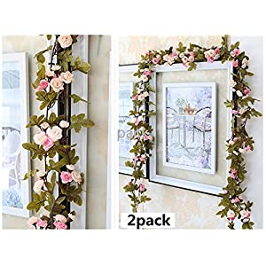 WIN Rose Vine,2 Pack 15 FT Fake Flowers Plants Artificial Flower for Home Wedding Garden Decoration 103