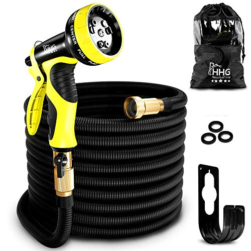 50 FT Expandable Garden Hose New 2017 Premium Quality Upgraded Durable Casing, Triple Layers Inner Tube, Solid Brass Connectors, Free Nozzle, Hanger and Storage Bag