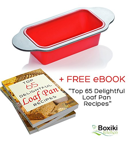 """Meatloaf and Bread Pan   Gourmet Non-Stick Silicone Loaf Pan by Boxiki Kitchen   for Baking Banana Bread, Meat Loaf, Pound Cake   8.5"""" FDA-Approved BPA-free Silicone, Steel Frame + Handles by Boxiki Kitchen (Image #4)"""