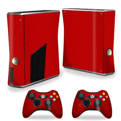 MightySkins Protective Vinyl Skin Decal for Xbox 360 S Slim + 2 controllers Case wrap cover sticker skins Red Carbon Fiber