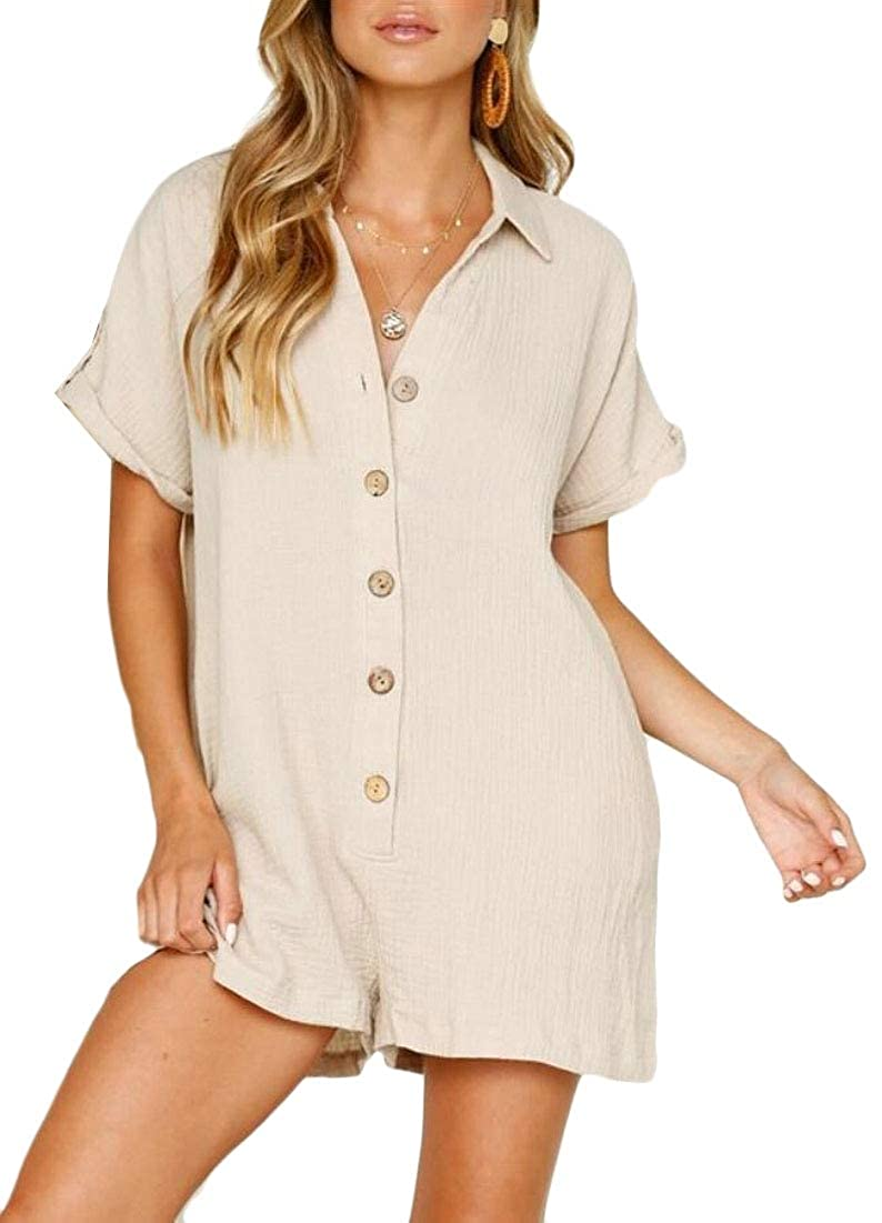 xiaohuoban Women Fashion Romper Casual V Neck Button Down Short Sleeve Jumpsuit