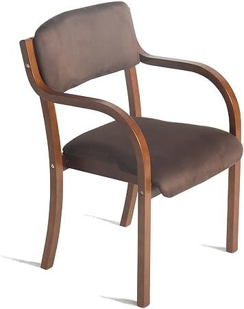 Sedia in legno massello con schienale e braccioli Poltrona come sedia da scrivania Sedia imbottita da pranzo Sedia da colazione Sgabello Seduta Design