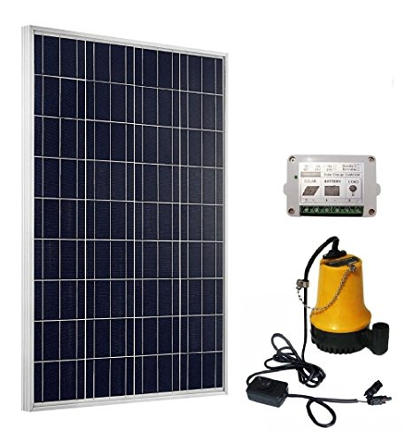 TrendSolar Solar Powered Water Pump System: 100W Solar Panel + 12V Water Pump w/15A Controller - Ponds, Fountains, Pools, Farming by TrendSolar