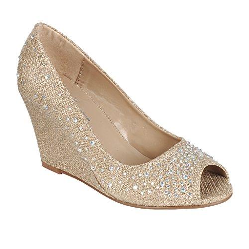 Coshare Women's Fashion Assorted Peep Toe Mid Heel Wedge Pumps, Gold, 8.5 M US