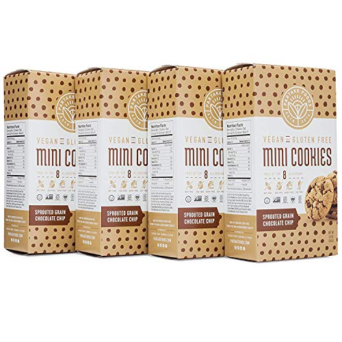 Partake Foods Crunchy Mini Cookies, Chocolate Chip Sprouted Grain, Vegan, Nut Free, Gluten Free Snack, Free of Top 8 Allergens, Lower in Sugar, High in Nutrition, Safe for the School Yard (4 Boxes) (Best Vegan Cookies Ever)