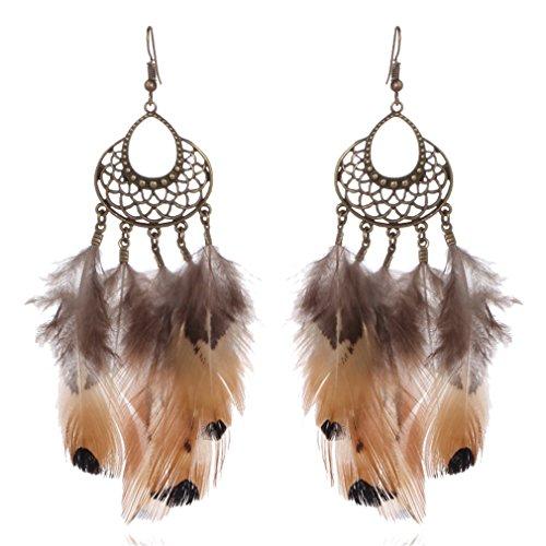 d1e0e8b51c82 YAZILIND exagerado anzuelo Aretes forma hueca colgante de plumas estilo  bohemio joyas mujeres regalo Buena