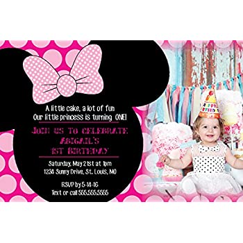 Amazoncom Customized Minnie Mouse Birthday Party Invitation