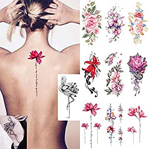 Ooopsi 10 Sheets Large Flower Temporary Tattoos - Sexy Body Tattoo Sticker for Women Girl for Arms Legs Shoulder or Back