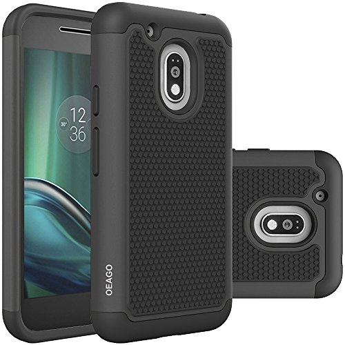 Moto G Play Case, OEAGO Moto G4 Play Case Cover Accessories [Shockproof] [Impact Protection] Hybrid Dual Layer Defender Protective Case Cover for Motorola Moto G Play / Moto G4 Play - Black