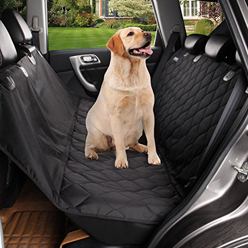 acelitor Deluxe Dog Seat Covers for Cars,Dog Car Seat Hammock Convertible,Universal Fit,Extra Side Flaps,Exclusive Nonslip,Waterproof Padded Quilted,black08