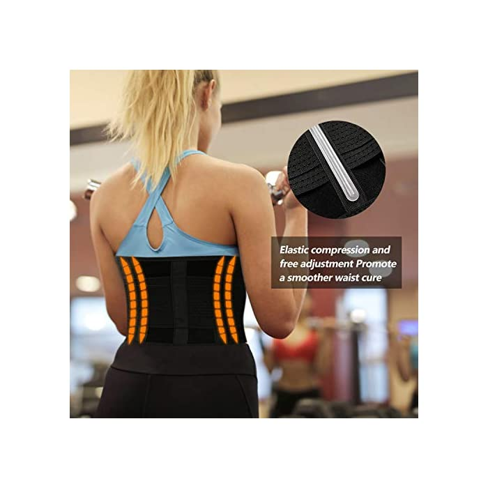 ▶ STIMULATE FAT BURN LOSE PESO ---- El reductor de la cintura para adelgazar de las mujeres aumenta el calor del cuerpo para promover la transpiración durante sus actividades deportivas. Maximice su quemadura y pierda esa grasa abdominal rápidamente conservando el calor corporal y eliminando el exceso de peso del agua, especialmente en su área abdominal con esta envoltura estomacal. Cintura adecuada: 85-89 cm. ▶ SOPORTE DE RESPALDO MANTENGA SALUDABLE --- Aumente el velcro y los 4 huesos de acrílico reforzados encerrados en un lienzo grueso en la parte posterior ofrecen compresión abdominal instantánea y soporte lumbar; Cinturón de fitness proporciona compresión para apoyar la espalda baja y los músculos abdominales. Le permite tener el soporte adecuado y evitar el dolor y promover el fortalecimiento muscular en las áreas lumbar y abdominal, mejorar la postura y estabilizar la columna vertebral. ▶ CINTURÓN DE BODA PARA ENTRENAMIENTO DE ENTRENADOR DE CINTURA ---- Fabricado con un tejido suave y elástico de alta calidad, hecho para durar y adaptarse a la forma de su cuerpo sin irritar su piel. El cierre de velcro permite el ajuste de acuerdo con el tamaño, para una mayor comodidad y transpirabilidad. Excelente para el corsé de abdomen.