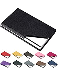 Business Name Card Holder Luxury PU Leather & Stainless Steel Multi Card Case,Business Name Card Holder Wallet Credit card ID Case / Holder For Men & Women - Keep Your Business Cards Clean (Black)