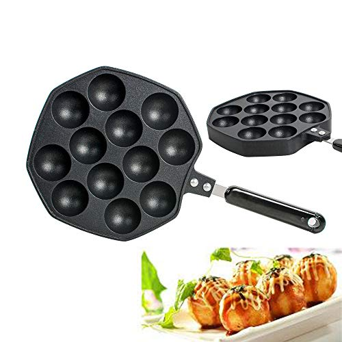 Cast Ball Iron (zorvo Cast Iron Griddle for Making Poffertjes Pancake Balls Takoyaki Pan Nonstick Cast Aluminum Alloy Baking Tray Takoyaki Maker, 12 Holes)