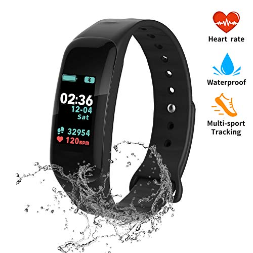 Activity Tracker, Color Screen Fitness Tracker Watch with Blood Pressure Blood Oxygen, IP67 Waterproof Smart Band with Heart Rate Sleep Monitor Calorie Counter Pedometer for Men, Women and Kids