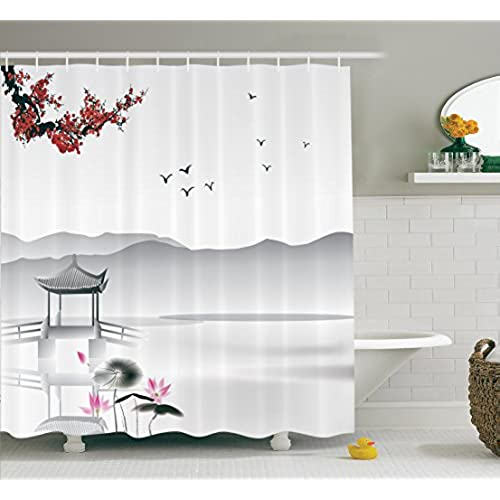 Ambesonne Asian Decor Collection Japanese Asian Style Garden with Bird and Small Pavilion Over the Lake Lotus Waterlily Polyester Fabric Bathroom Shower ...