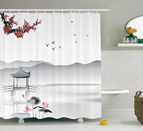 Ambesonne Asian Decor Collection, Japanese Asian Style Garden with Bird and Small Pavilion Over the Lake Lotus Waterlily, Polyester Fabric Bathroom Shower Curtain, 75 Inches Long, Grey Pink Red - Lotus Garden Rug