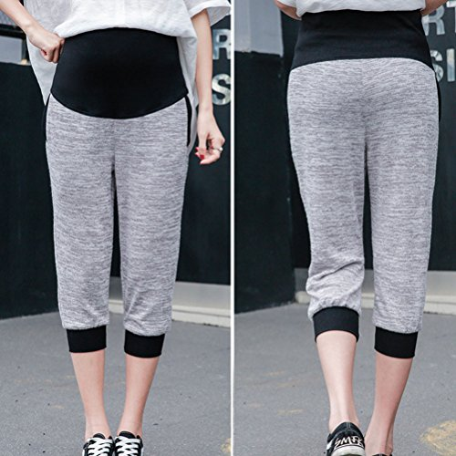 Zhhlaixing pantalones de maternidad Casual Knitted Wear Pants Outside Belly Pants Large Size for Pregnant women Light Gray