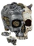 Ebros Steampunk Horned Demon Cyborg Skull Jewelry Box Statue 7'Long Robotic Bone Devil Utility Box Sculptural Figurine