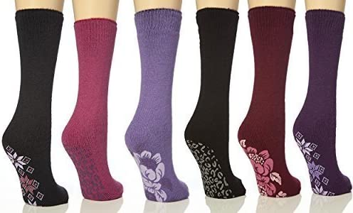 4,8,12 Pairs Ladies Thermal Slipper Socks Gripper Womens Winter Warm Soft UK 4-7
