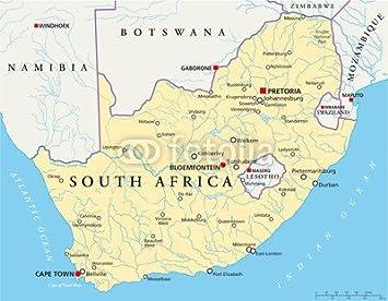 Karte Südafrika.Poster Bild 50 X 40 Cm South Africa Map Südafrika Landkarte