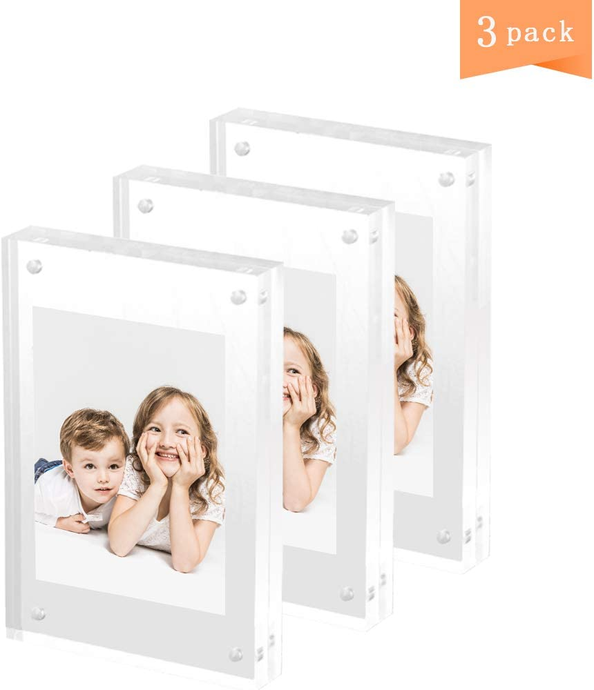 HappyHapi 3 Pack Acrylic Picture Frame 4x6 Inches Double-Sided Magnetic Clear Photo Frame Desktop