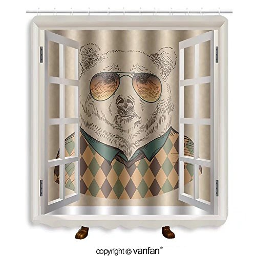 Vanfan designed Windows 147652253 vector illustration of bear portrait in sunglasses Shower Curtains,Waterproof Mildew-Resistant Fabric Shower Curtain For Bathroom Decoration Decor With Shower - Near Me Sunglasses Store
