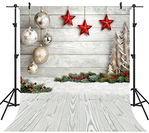 OUYIDA 8X8FT Seamless Christmas Theme Pictorial Cloth Customized Photography Backdrop Background Studio Prop SD768 ()