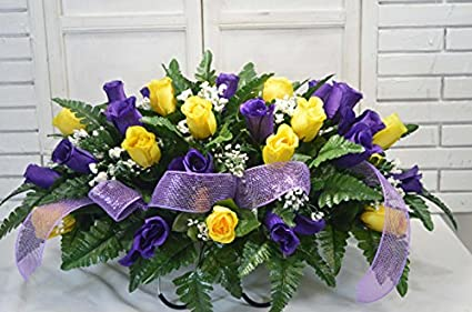 Amazon s1280 yellow and purple valentine cemetery flower s1280 yellow and purple valentine cemetery flower arrangement headstone saddle grave tombstone arrangement mightylinksfo