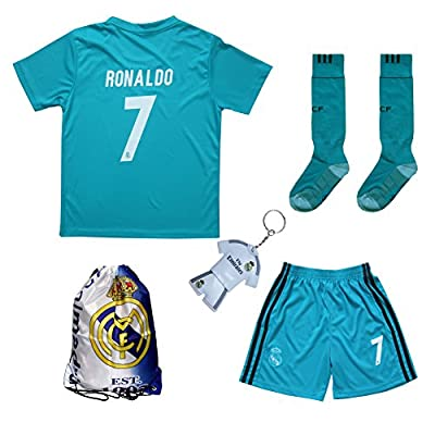 2017/2018 Real Madrid RONALDO #7 Third Black Soccer Kids Jersey & Short & Sock & Soccer Bag Youth Sizes