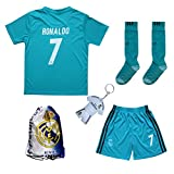 2017/2018 Real Madrid RONALDO #7 Third Soccer Kids Jersey & Short & Sock & Soccer Bag Youth Sizes (7-8 YEARS)