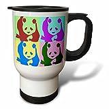 3dRose Colorful Pandas Fun Animal Art Travel Mug, 14-Ounce, Stainless Steel