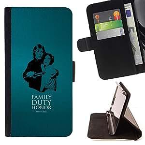 KingStore / Leather Etui en cuir / HTC One M9 / Familia - Deber - Honor - Skywalke