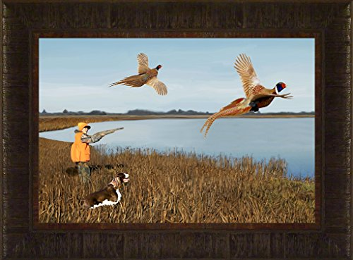 (Young Gun By Todd Thunstedt 17.5x23.5 Brittany Spaniel English Springer German Shorthair Pointer Dog Ring-necked Pheasant Hunting Outfitter Lodge Mossberg Weatherby Shot Shell Pointer Irish Setter Framed Art Print Wall Décor Picture)