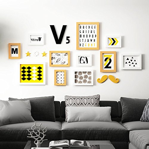 Home@Wall photo frame Modern Home Wood Photo Frame Sets Of 11 , Living Room Bedroom Sofa Background Hanging Paintings Aisle Corridor Photo Frame Combination ( Color : B , Size : 11frames/18994CM ) by ZGP