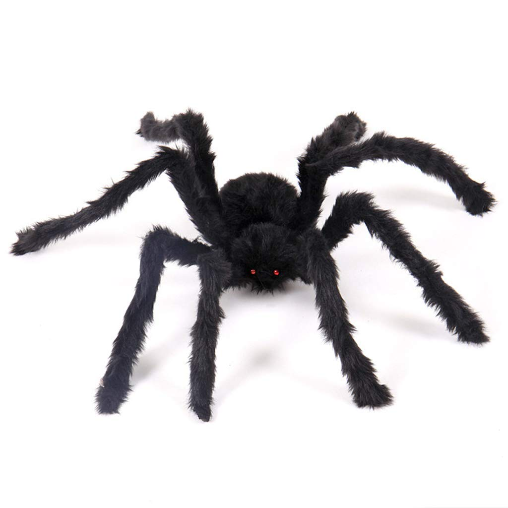 RONGT Halloween Hairy Giant Spider - Fake Soft Plush Black Spider Toy, Terror Halloween Props Decoration for Home Party Window (30 cm)