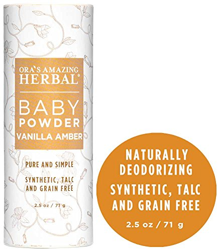 Natural Baby Powder, Talc-Free Corn Free Gluten Free Dusting Powder With Arrowroot and Kaolin Clay, Real Vanilla, Synthetic Fragrance-Free 2.5 oz