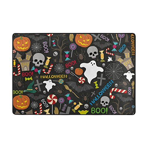 My Little Nest Boo Halloween Pumpkin Bats Candies Pattern Area Rug For Bedroom Dining Living Room Entry Way 4' x 6'